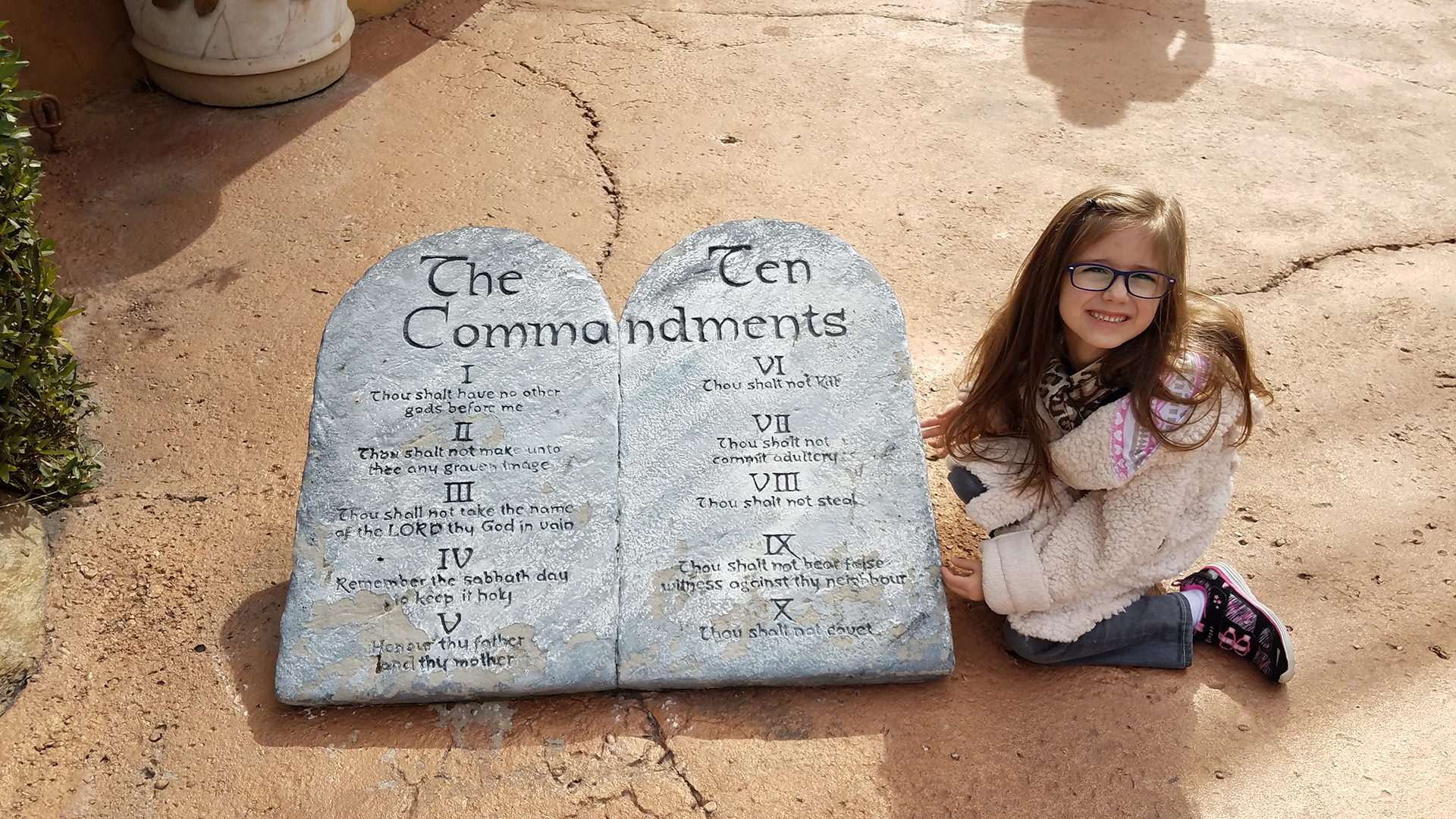 Image of Harley Isabel Smith at Holy Land Experience in Orlando with Ten Commandments