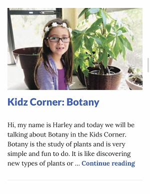 Picture of Harley Isabel Smith Posing with Potted Plant for November 2019 Botany Article for Dunndeal Publications