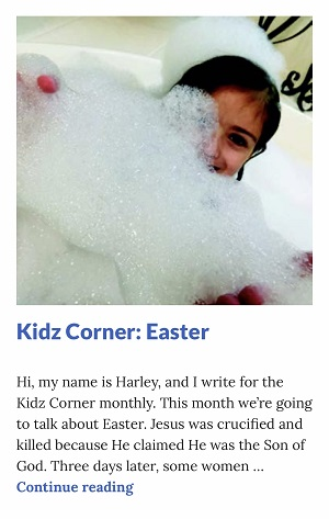 Picture of Harley Isabel Smith Holding Lots of Bubbles for April 2020 Easter Article for Dunndeal Publications