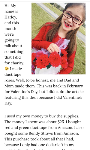 Picture of Harley Isabel Smith Holding Duct Tape Roses for May 2020 Valentines Day Article for Dunndeal Publications