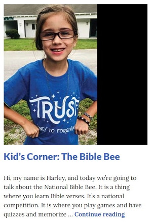 Picture of Harley Isabel Smith Wearing Bible Bee Shirt for Aug 2020 Bible Bee Article for Dunndeal Publications
