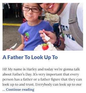 Picture of Harley Isabel Smith Eating Strawberry Shortcake with Her Daddy for June 2020 Fathers Day Article for Dunndeal Publications