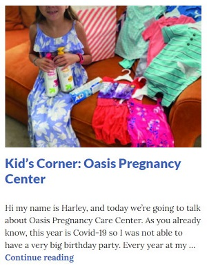 Picture of Harley Isabel Smith Holding Donated Supplies for Oct 2020 Oasis Article for Dunndeal Publications