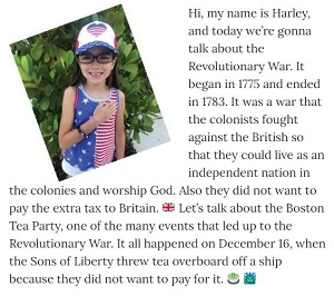 Picture of Harley Isabel Smith Wearing Patriotic for July 2020 Revolutionary War Article for Dunndeal Publications