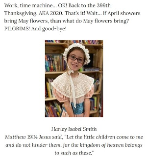 Picture of Harley Isabel Smith Wearing Pilgrim Dress for Nov 2020 Thanksgiving Article for Dunndeal Publications