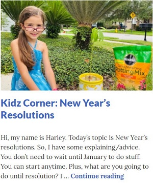Picture of Harley Isabel Smith With Avocado Plant for Jan 2021 New Years Resolutions Article for Dunndeal Publications