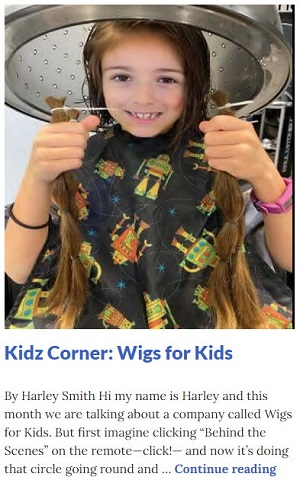Picture of Harley Isabel Smith Holding Hair She Just Cut Off to Donate to Wigs For Kids that is Published in April 2021 Article for Dunndeal Publications